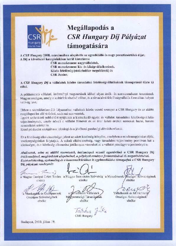 CSR Hungary Díj - Megállapodás